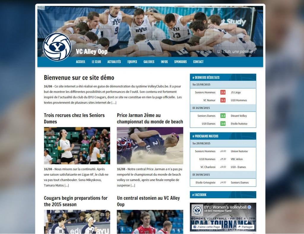 Exemple de site réalisé avec VolleyClubs.be